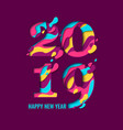 2019 happy new year paper cut banner vector image vector image