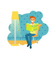 a man sitting and reading a book vector image vector image