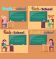 back to school posters set smiling boys and girls vector image vector image