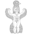 black and white of weird creature nude woma vector image vector image