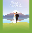 bride and groom and mountains wedding ceremony by vector image vector image