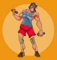 cartoon funny male athlete doing exercises with vector image