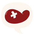cartoon injured gall bladder and speech bubble in vector image vector image