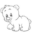 cartoon style teddy bear is drawn in outline vector image vector image