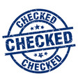 checked blue round grunge stamp vector image vector image