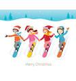 children snowboarding together vector image
