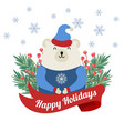 christmas card with tree branches and polar bear vector image vector image