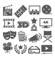 cinema icons on white background vector image vector image