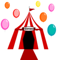 Circus tent white and red with balloons vector image