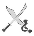 cross swords on white background vector image vector image
