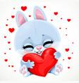 cute cartoon baby rabbit hugs with love a big vector image vector image