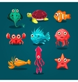 Cute Sea Life Creatures Cartoon Animals Set vector image vector image