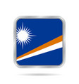 flag of marshall islands metallic square button vector image vector image