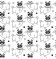 funny pugs seamless pattern background vector image vector image