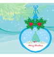 funny Santa Claus in transparent ball hanging on vector image