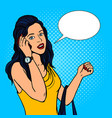 girl talking phone pop art style vector image vector image