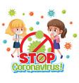 girls stop spreading virus vector image vector image