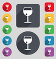 glass of wine icon sign A set of 12 colored vector image