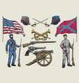 hand drawing set american civil war objects vector image vector image