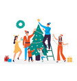 happy people decorating christmas tree family vector image
