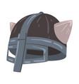 horned viking helmet scandinavian celtic solder vector image