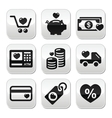 I love shopping I love money buttons set vector image vector image