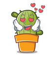 in love cute cactus character cartoon vector image vector image