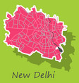 new delhi map sticker style design vector image vector image