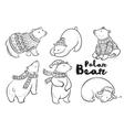 outline set with polar bears