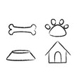 pets icons over white background stock hand draw vector image