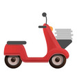 pizza delivery scooter icon cartoon style vector image