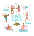 pool party characters people swimming relaxing vector image vector image