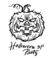 pumpkin drawn with halloween vector image
