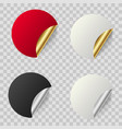 realistic curled round blank sticker for your text vector image