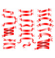 Red ribbon banner set on white background draw