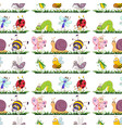 seamless pattern tile cartoon with insects vector image