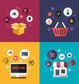 set flat design concept e-commerce symbols vector image