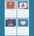 set patriotic us posters 4th july independence day vector image