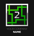 silver number two logo symbol in the square maze vector image vector image