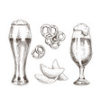 snack food and foamy beer in glasses graphic art vector image vector image