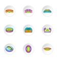 Sport stadium icons set cartoon style vector image vector image