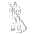 strong man mows the grass vector image