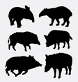 Tapir and boar wild animal silhouette vector image vector image