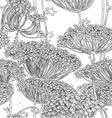 Vintage grey seamless pattern of wild flowers grap vector image