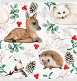 watercolor woodland animals seamless pattern vector image