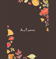 white doodle autumn leaves frame background vector image