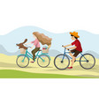 young couple riding a bikes on natural vector image vector image