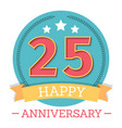 25 years anniversary emblem with ribbon stars and vector image