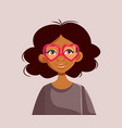 african girl wearing heart party glasses vector image