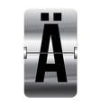 Alphabet silver flipboard letters a umlaut vector image vector image